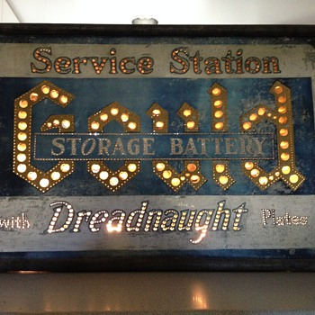 Antique Punched Tin Service Station Sign