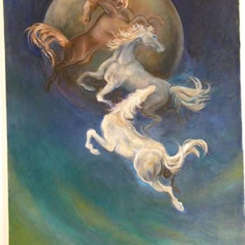 Vintage Oil Painting &quot;Blue Moonstone Horses&quot; By Reiko - Animals