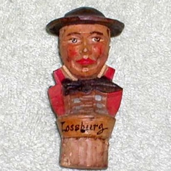 Carved Wood Figural Bottle Cork - Lossburg - Folk Art