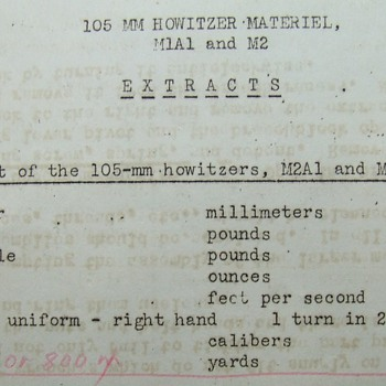 WW II Students Worksheet For The 105 mm Howitzer - Military and Wartime