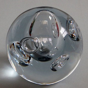 Swedish? Ring Bubble Paperweight~Clear, I can't read the Signature, HELP! - Art Glass