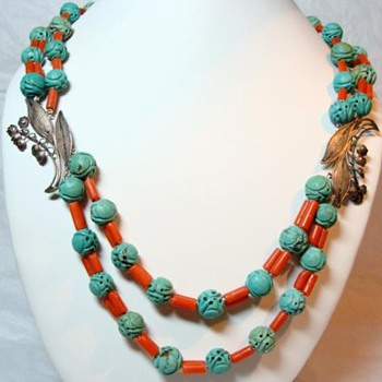 Antique Chinese Turquoise and Coral Necklace - Fine Jewelry