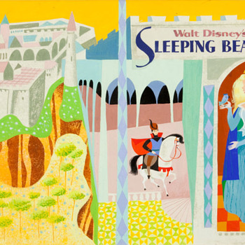 Mary Blair Sleeping Beauty Book Cover Wraparound Illustration (Golden Press, 1958)