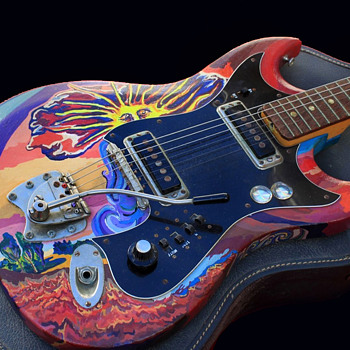 "1960's Signed Psychedelic Art Guitar for the ""Incredible Iguanas"" - Guitars"