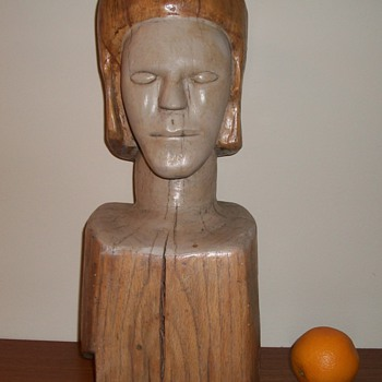 Large Folk Art Bust Carved Head Wood Sculpture