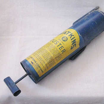 Vintage Rare Blue J.R. Watkins Company Metal Self Lubricating Duster USA  - Tools and Hardware