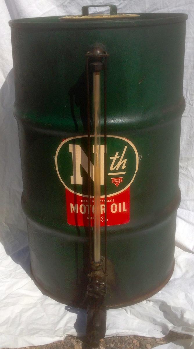 N th conoco phillips motor oil dealer dispensing barrel for Motor oil by the barrel