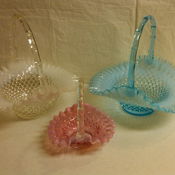 LARGE FENTON HOBNAIL BASKETS IN FRENCH OPAL AND BLUE OPAL AND RARE MINI CRANBERRY BASKET