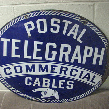 Postal Telegraph Commericial Cables Office Sign - Telephones