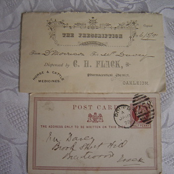 1878 postcard & prescription - Postcards