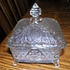 Vintage Clear Glass  4 footed Trinket or Candy Dish with starburst design and daisies
