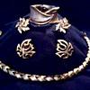 """ Trifari"" Demi-Parure (?) Necklace, Cuff Bracelet, and Ear Rings / Circa 1960"