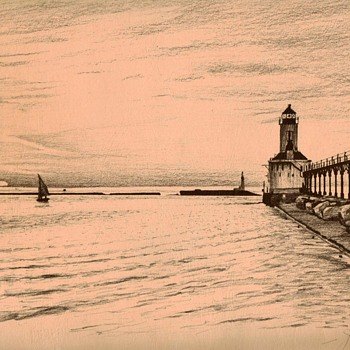 Michigan City Lighthouse - original sketch by John S. Lucas - Paper