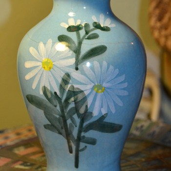 Glazed Vase with Daisies - unsigned - Art Pottery