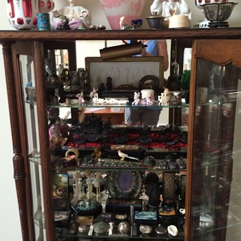Antique Oak Collectors Cabinet with brass hardware