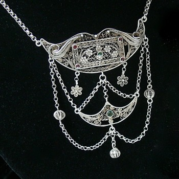 Fine Filigree Antique? Norwegian 830 Silver Lavaliere Necklace Maker? - Fine Jewelry