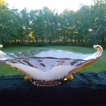 Beautiful Cased Art Glass Dish
