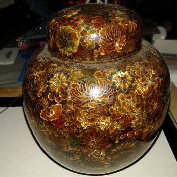 Large Vintage Floral Closionne Jar Chocolate Brown - Asian