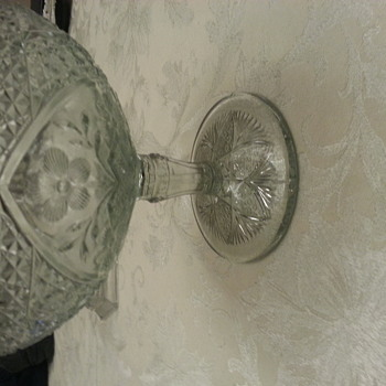 Depression glass pedestal bowl