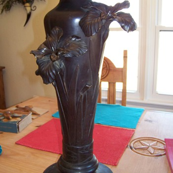 Bronze or Copper Umbrella or Cane Stand with Lily or Iris flower?