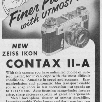 1951 - Zeiss Contax II-A Camera Advertisement