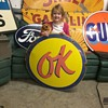 OK used cars porcelain sign.