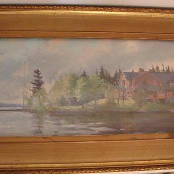 "1898 ERNEST FOSBERY oil painting on board 14.25"" by 6.25"" - Visual Art"