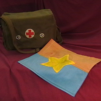 NVA Combat Medical Bag and Flag - Military and Wartime