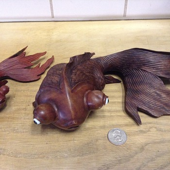 Hand carved rosewood koi fish