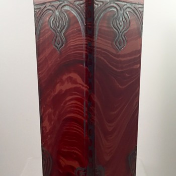 Riedel acid-etched red marbled glass vase, ca. 1905-1910 - Art Glass