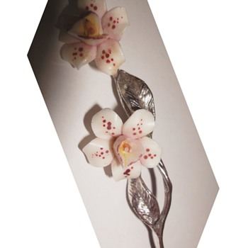 Tiny Silver (800) Twig Detailed Two Porcelain Flowers - Arts and Crafts