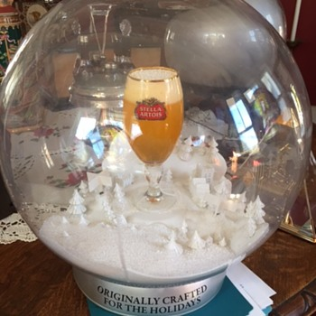 Stella Artois Glass Village Snow Globe with Fans