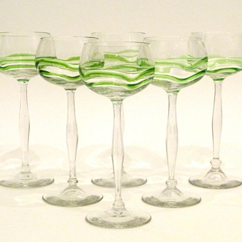 "Hans Christiansen ""Liane"" Theresienthal jugendstil wine glasses"