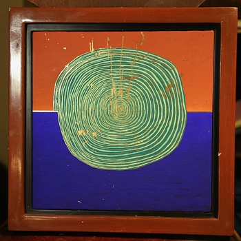 Painted tile by Joel Thayer - framed