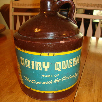 Vintage Brown Jug With Dairy Queen Label.......