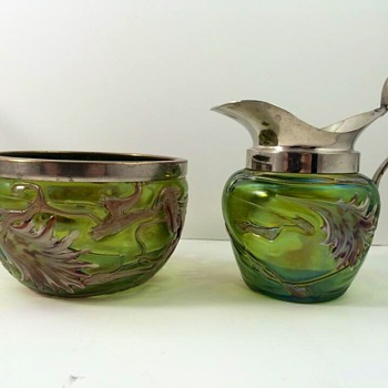 Pallme Konig Creamer Pitcher & Sugar Set - Art Glass