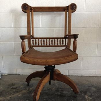Antique Desk Chair w/ Leather Faces
