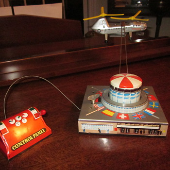 1950's Biller Helicopter Transporter Tin Toy Wind-Up - Toys