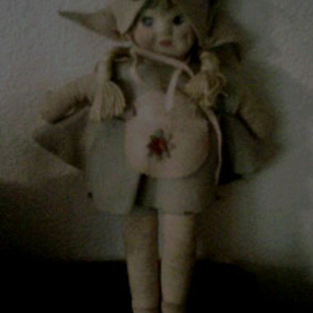 antique doll-felt with hand painted face