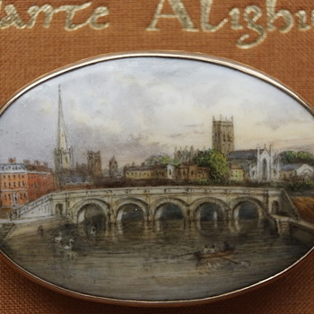 Fine antique porcelain plaque gold brooch - city river landscape scene - Victorian Era
