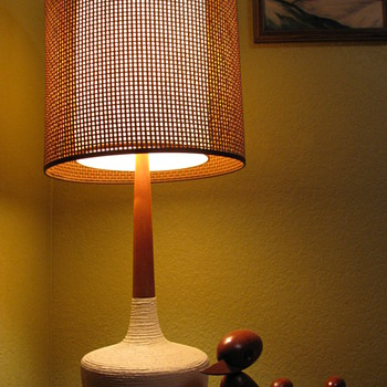 Danish Modern Teak Ceramic Lamp - Mid Century Modern