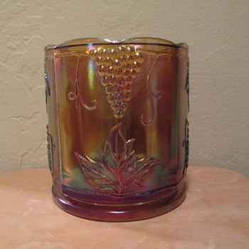 Vintage Indiana Glass Canister in Marigold Color Carnival Glass (lid missing)