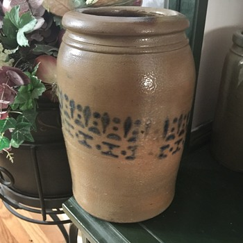 Pottery crock with cobalt decoration
