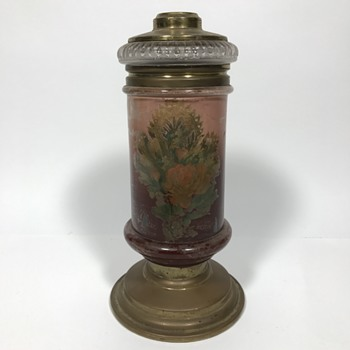 Oil lamp with rose design pat april 4 1882