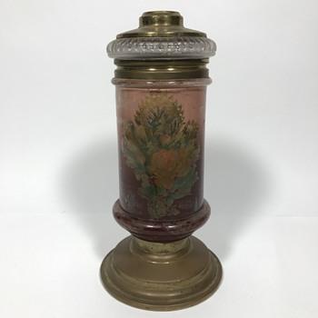 Oil lamp with rose design pat april 4 1882