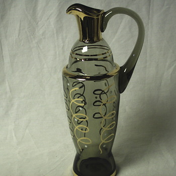 Gold Enamel Clear Glass Decanter - Art Glass