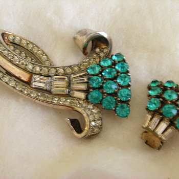 Sterling crystal brooch - Costume Jewelry