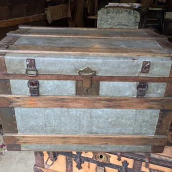 Zinc Covered 1860-1870's trunk - Very heavy - gorgeous simple metal - Furniture