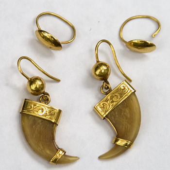 Tiger Claw Earrings Gold from 1890s