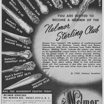 1950 Nelmor Jewelers Sterling Club Ads